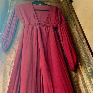 Dresses & Skirts - Burgundy deep v goddess gown / coverup